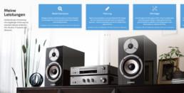 Desktop-Ausschitt der Portfolio-Sektion mit Vorstellung einzelner Leistungsbereiche